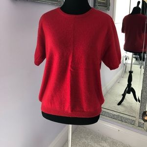 🚫SOLD🚫 Vintage red cashmere short sleeve sweater